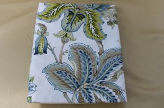 Amalfi Floral Fabric Shower Curtain Blue Green Brown White