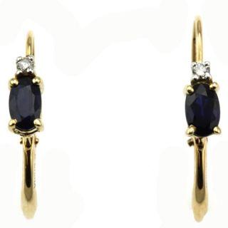 14k yellow gold oval blue sapphire diamond earrings