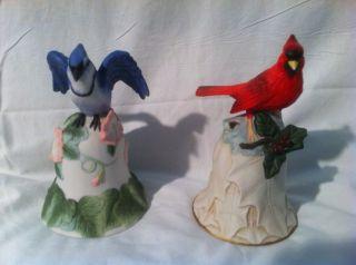 Blue Jay Redbird Porcelain Figurine BellS