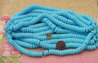 vintage 10mm sky blue glass disc beads west germany
