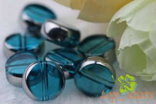 50 Pcs Silver Plated Blue Lake Crystal Glass Round Beads 10mm CR421