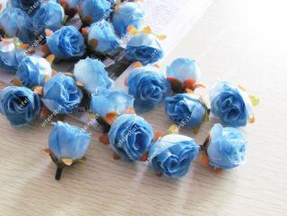 6XARTIFICIAL Blue Rose Silk Flower Heads Wedding Favor Home Hair Clip
