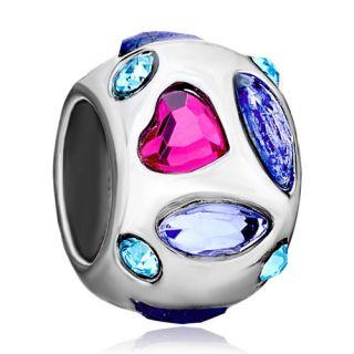 Pugster® Bead Crystal Silver Charm for Bracelet C05