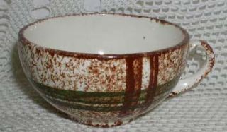 Blue Ridge Southern Potteries Coffee Tea Cup Brown Plaid Green Rustic