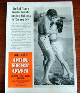 1950 Movie Ad Our Very Own Ann Blyth Farley Granger