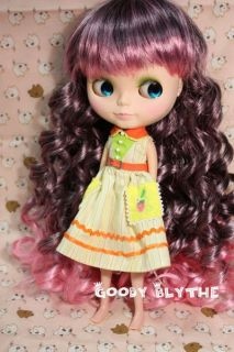12 Goodyblythe Blythe Hair Wig Pink Highlight with Black Curl W78