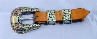 Bohlin 4A3 Tri Color Gold Sterling Ranger Buckle Set