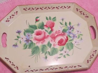 VINTAGE HANDPAINTED METAL TOLE TRAY~ROSES~Shabby~Cottage~Chic