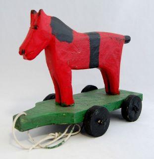 Emile Bluteau Folk Art Primitive Carving Listed Quebec Childs Horse
