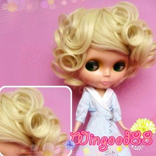 Short Hair Wig Curve Curl Curly Gold Blonde For Blythe Doll