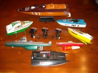 Vintage Battery Powered Speed Boats Submarines Boat Motors Etc