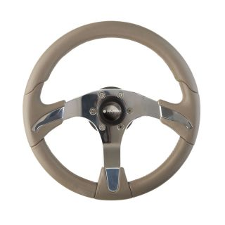 New Gussi Boat Steering Wheel Polished Aluminum with Taupe Grey Rim