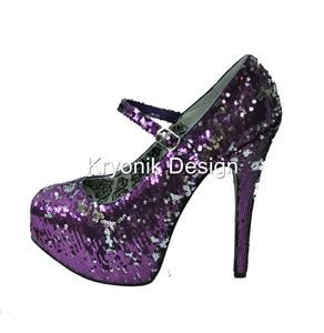 Bordello Shoes Teeze 07SQ Purple Silver Sequin Platform Mary Jane