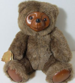 1985 ROBERT RAIKES BROWN SHERWOOD Wooden Face Teddy Bear Applause