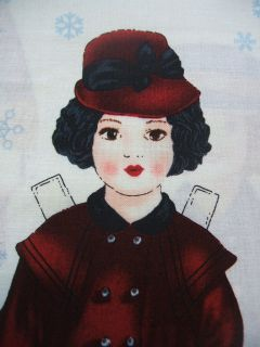 Holiday Paper Dolls Christmas Robert Kaufman Cotton Fabric Yard