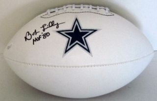 Bob Lilly Autographed Dallas Cowboys Logo Football HOF 80 SI