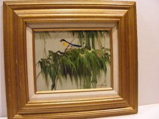 EXQUISITE Oil Painting Richard Robert R. Hall Listed Bird Bamboo Trees