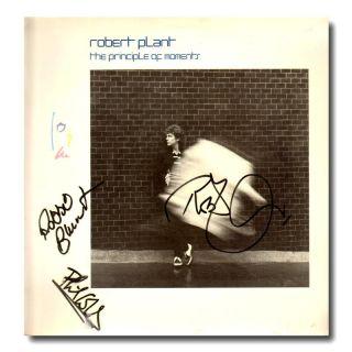 Robert Plant Phil Collins Principle of Moments Autographed LP LED
