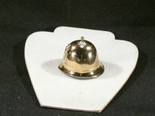 Vintage Brass Tone Hand Held Bell Bobby Hat England Police Helmet Cast