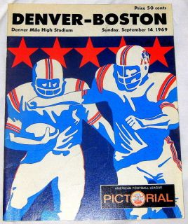 1969 Denver Broncos vs Boston Patriots AFL Game Program Bears Stadium