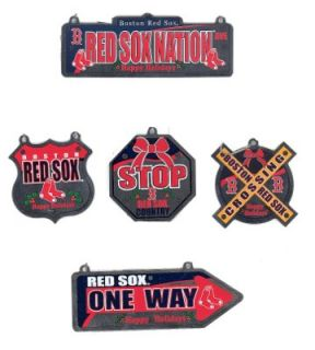 Boston Red Sox Set of 5 Metal Street Sign Christmas Ornaments