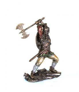 Bronzed Viking Warrior w/ Battle Axe Hand Made Veronese Studio