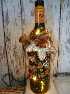 FALL DECOR LIGHTED DECORATED WINE BOTTLE ACCENT LIGHT OR NIGHT LIGHT