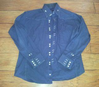 BOGOSSE mens navy blue white stitch square button long sleeve dress