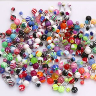 60 Mix Belly Navel Ring Bars Wholesale Body Jewelry 236