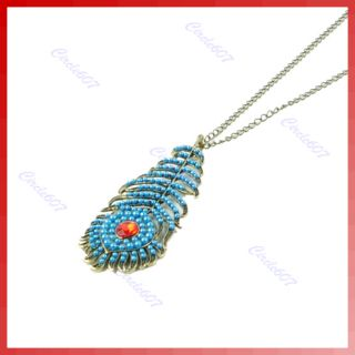 Retro Blue Peacock Feather Bronze Bohemia Long Necklace
