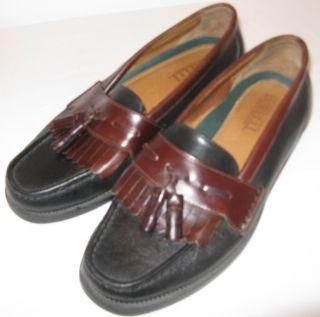 Mens Black Brown Borelli Leather Fringe Tassle Loafers Shoes Size 9 5M