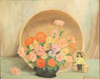 Old Floral Still Life Oil Painting Listed Artist Leonard Borman