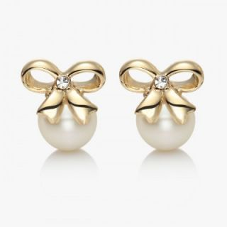 14K Gold Plated Rhinestone Beaded Faux Pearl Bow Stud Earrings