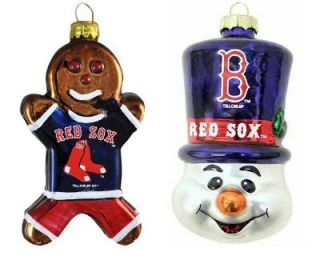 Boston Red Sox Gingerbread Man and Top Hat Christmas Ornament Set