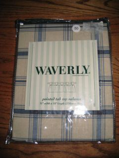 Waverly Tab Top Valance Indigo Pantry Plaid 51 x 18