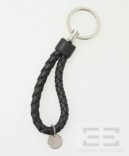 Bottega Veneta Black Intrecciato Leather & Silver Metal Key Ring