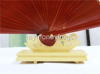 Asian Wood Bamboo Hand Paper Silk Lace Fan Stand Display Holder