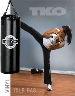 TKO 75lb All Purpose Vinyl Boxing Heavy Bag 502VN BK75