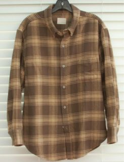 Hot Band of Outsiders Plaid Brown Winter Flannel Button Down Shirt XXL