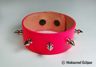 Fluorescent Hot Pink Spiked Leather Wristband Bracelet