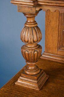 Antique Carved Oak Single Door Bookcase Cabinet Display