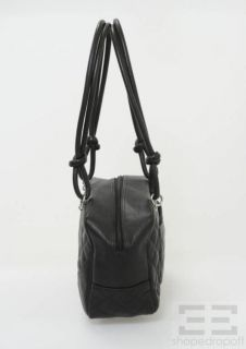 Chanel Black & White Quilted Leather Cambon Bowler Bag