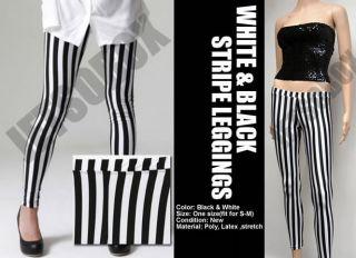 Opaque Black White Vertical Stripe Leggings Pant Tight