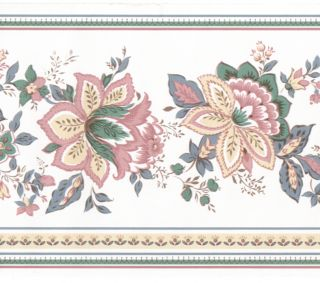 Jacobean Floral Flower Mauve Pink on White Wall Paper Border