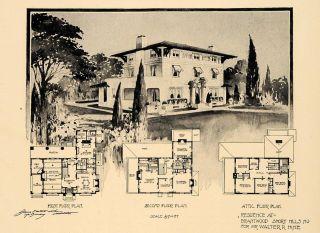 1911 Print Floor Plan Brantwood New Jersey Walter Hine ORIGINAL