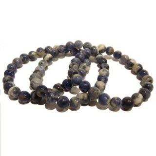 Sodalite Bracelet 02 Stretch 8mm Blue White Crystal Healing Stone Gem