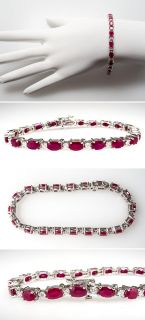 Natural Ruby & Diamond Tennis Bracelet Solid 14K White Gold Jewelry