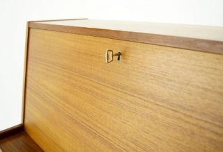 Danish Mid Century Modern Teak Secretary Desk Drawers