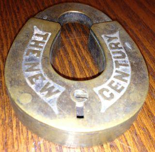 Antique Brass Horseshoe Shaped NEW CENTURY Pad Lock Heavy Original