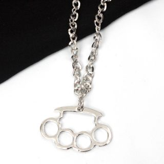 Silver Brass Knuckles Chain Designer Fashion Necklace